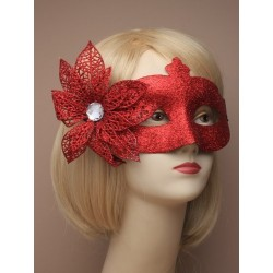 Masquerade mask - Colourful glitter with side flower masquerade mask