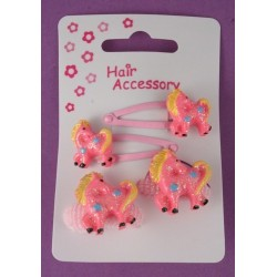 Sleepies click clack hair clip slides with ponies and matching ponios set