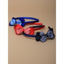 Headband - Satin aliceband with double gingham check bow Red, royal and navy