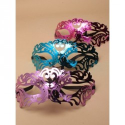Masquerade Mask - Bright coloured mirror finish masquerade mask with black ribbon ties In Pink,teal and purple