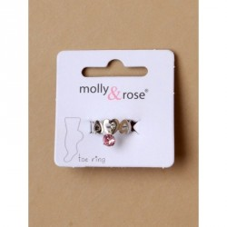 Toe Ring - Silv open heart toe ring with coloured crystal...