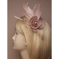 Fascinator Clip & Pin - Coloured hessian net rosebud clip and pin feather fascinator