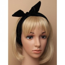 Stretch Headband - Stretch Headband - Soft black velvet bandeaux with wired knotted bow detail