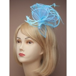 Large Pastel coloured looped fabric and feather Fascinator on a clear comb. In an assortment of Pink/lil...