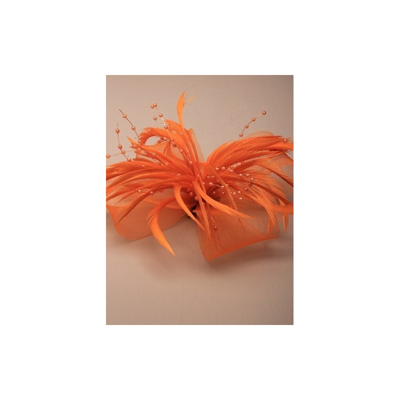 Brightly coloured Large looped net and feather fascinator on a forked clip and brooch pin. In Orange/pur...
