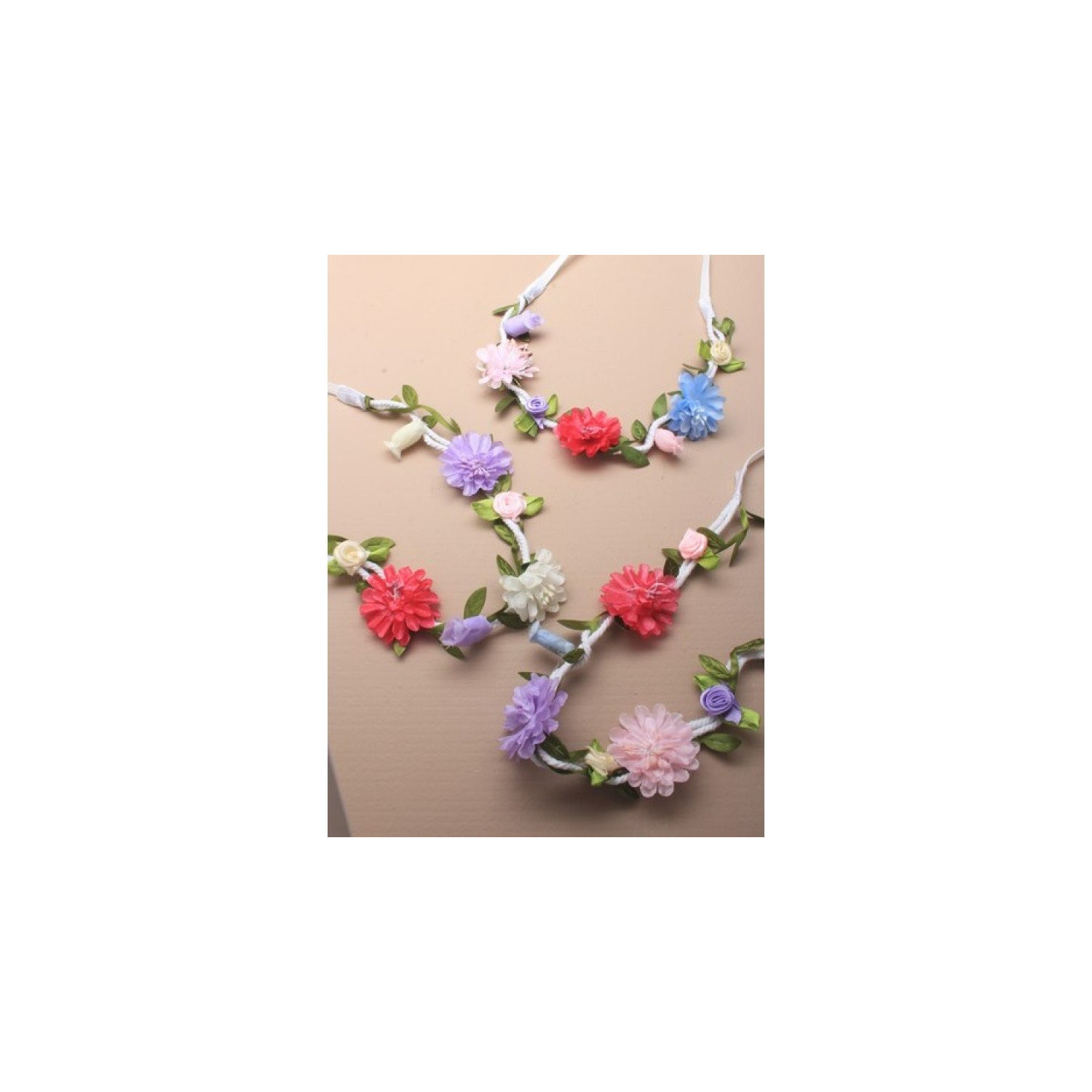 White corded flower garland bandeaux,headband,with elastic,3 colourways