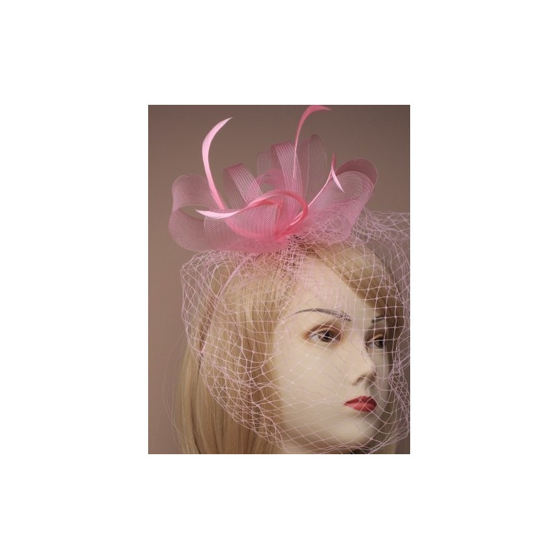 Looped net and feather fascinator on an aliceband with face netting. In Pink/lavender/Latte and cream.