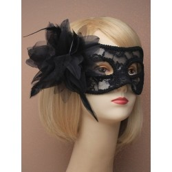 Masquerade mask - Black lace with side flower masquerade...