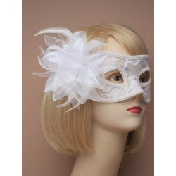 Masquerade mask - White lace with side flower masquerade...