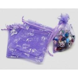 Organza Geschenk Beutel - Schmetterlinge lila mit Silber 7 x 9cm