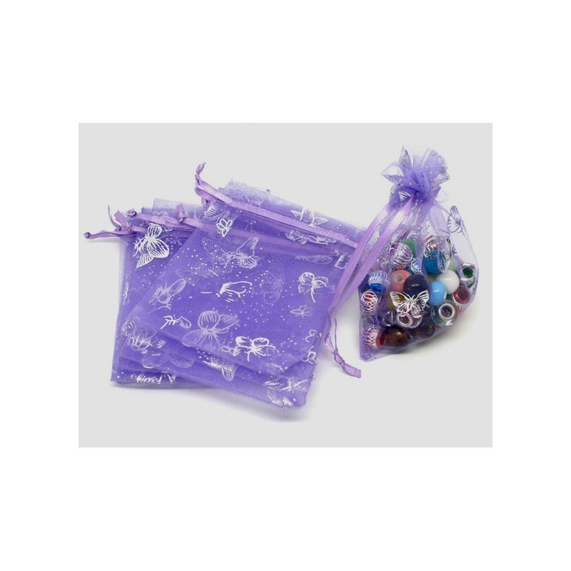 bolsa de regalo de Organza - lila con plata mariposas 7 x 9cm