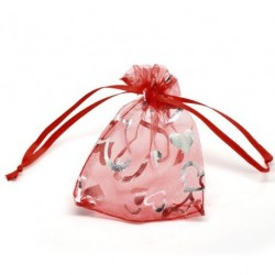 Organza gift bag - Red with Silver Hearts 7 X 9cm