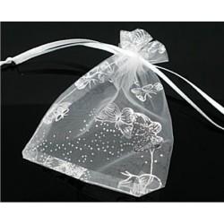 Organza Geschenk Beutel - Schmetterlinge weiß mit Silber 7 x 9cm