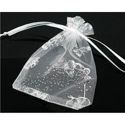 Organza gift bag - White with Silver Butterflies 7 X 9cm