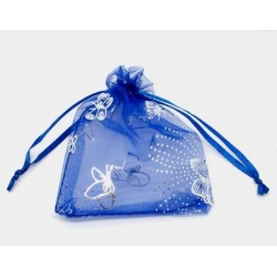 Organza gift bag - Blue with Silver Butterflies 7 X 9cm