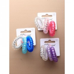 Compact Mirrors - Tele-cord Hair Elastics - Card of 3 Transparent telephone cord hair ties with silver mirror inner In 3 colour