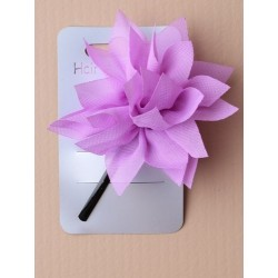 black hairslide with bright coloured fabric ruffle. in pink/yellow/turq/green/lilac or red.