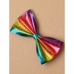 12cm Holographic rainbow bow on a crocodile clip Due to the fabric repeat colour, style may vary slightly