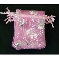 Organza gift bag - Pink with Silver Butterflies 7 X 9cm