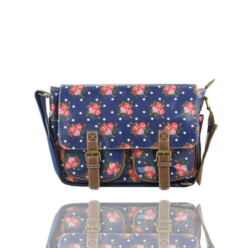 bandolera Messenger bag - rosas y polka - lydc