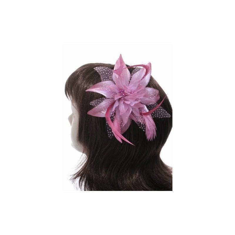 peine fascinator - flor de lirio Rosa arenero-esque y plumas fascinator