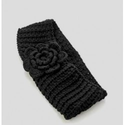 Knitted headband with knitted flower