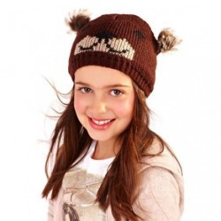 Knitted character hat - pom pom animal beannie hat