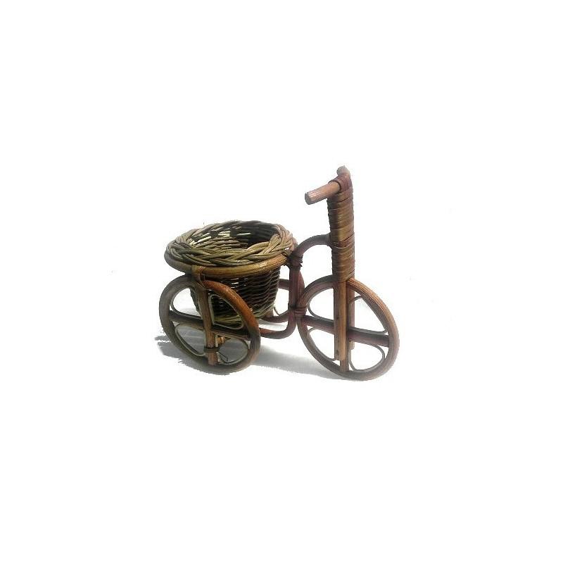 almacenamiento de baratija mimbre cesta triciclo ornamental