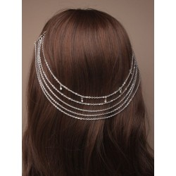 vintage silv hair chains on...