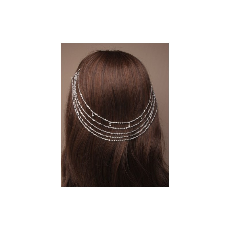 vintage silv hair chains on combs with crystals.
