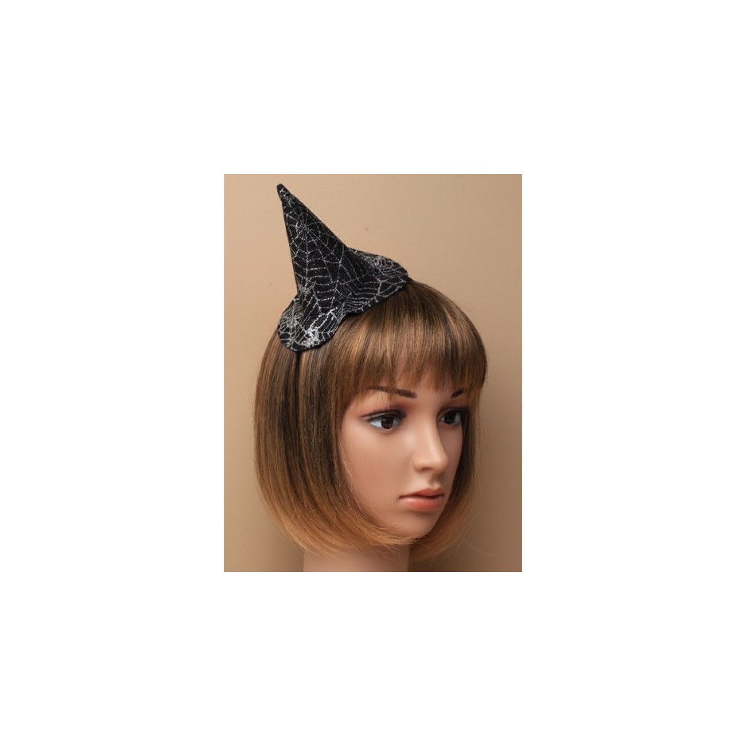 Witches hat with glitter spiders web design on a Headband Halloween Hair Band
