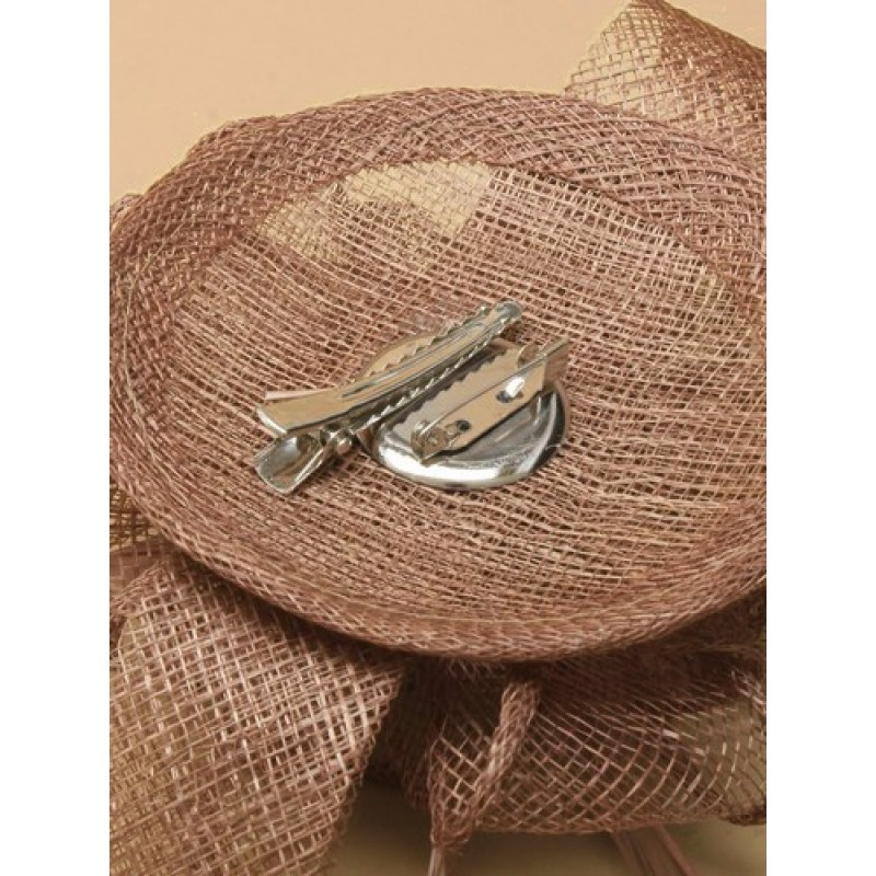 Mocha small looped sinamay and feather fascinator on a round base with clip and brooch pin