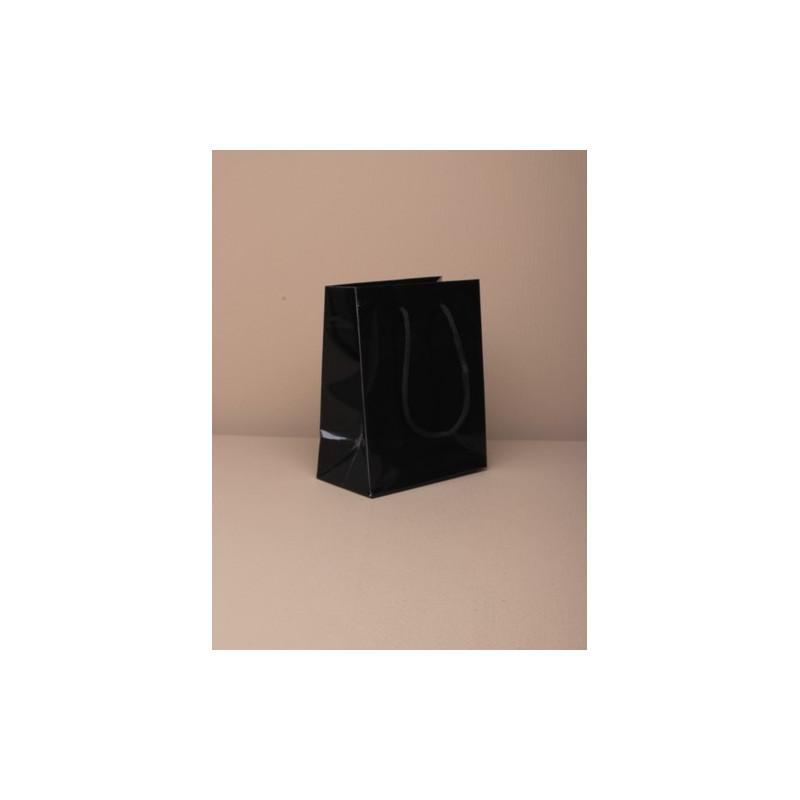 revestimento de tamanho 13.5x11x6cm pequeno lustroso giftbag preto com alça de cordão.