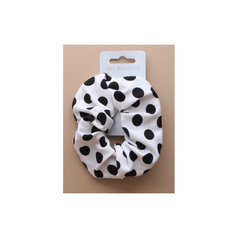black and white fabric scrunchies. in spots and stripes.