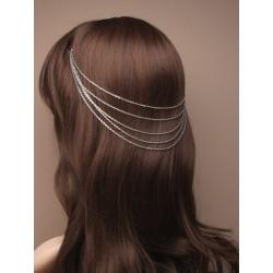 vintage silv cascaiding hair chains on grips.