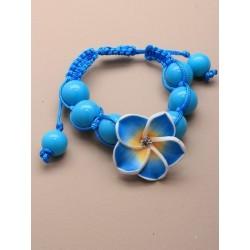 bright coloured beaded cord fimo flower motif bracelet....