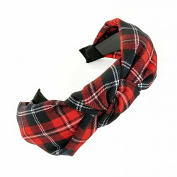 Red Tartan Print Knot Design Headband 3.5cm Wide Trendy Hair Band