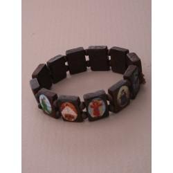 all saints wooden stretch bracelet. in dark brown/ brown...