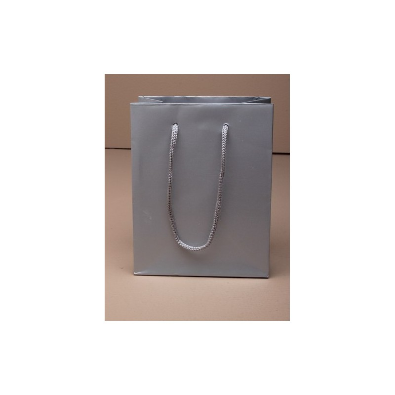 size 14x11x6cm.small glossy finish silver grey gift bag with cord handle. paper grade 158gsm.
