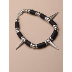 black bead and silver spike bracelet