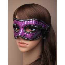 sequin detailed masquerade mask with ribbon ties. in pink or purple.