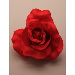 Hair Clip Flower - large red fabric rose on a forked clip.