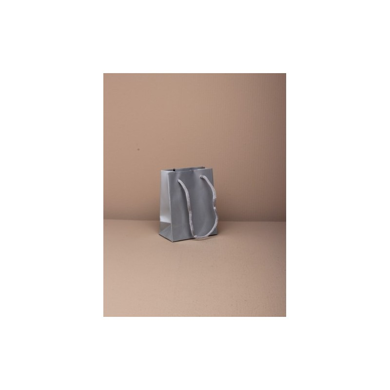 size : 10x8x4.5cm.mini glossy finish silver gift bag with cord handle. paper grade 158gsm.