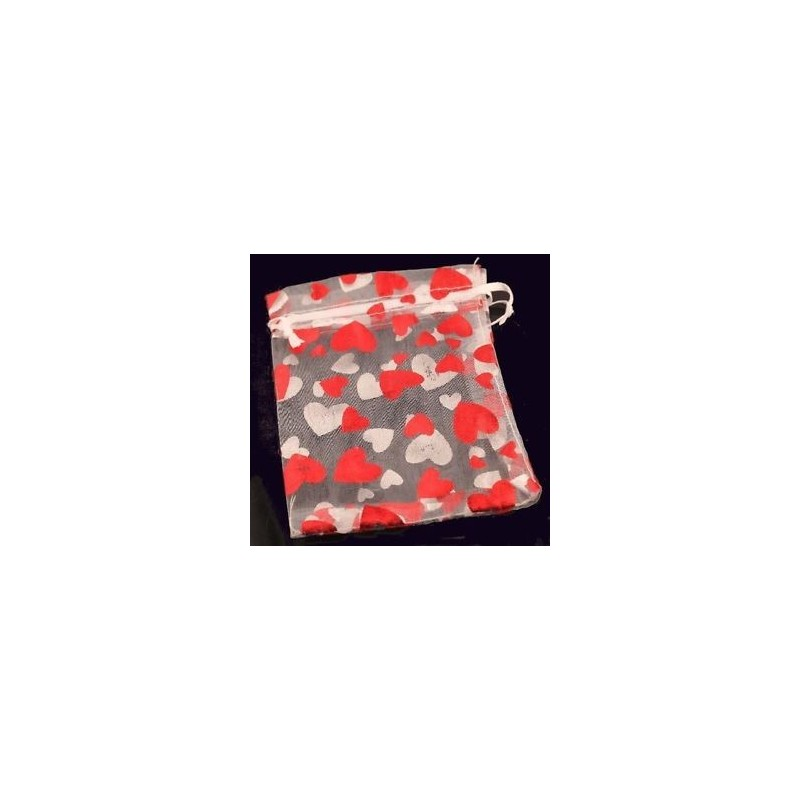 Organza gift bag - White with Red & Silver Hearts 9 X 11cm