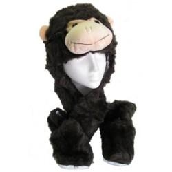 zábava umělé kožešiny charakter čepici, šálu a rukavice combi