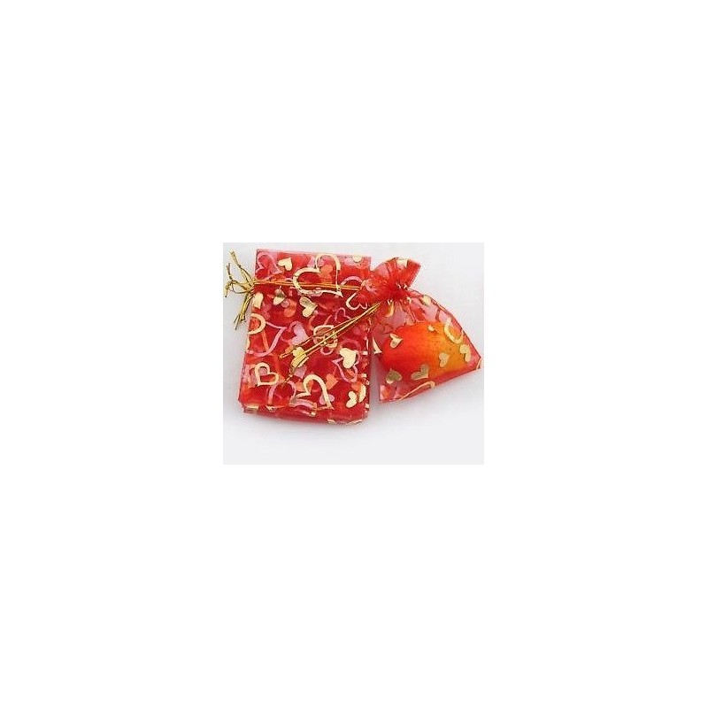 Organza gift bag - Red with Pink & Gold Hearts 9 X 11cm