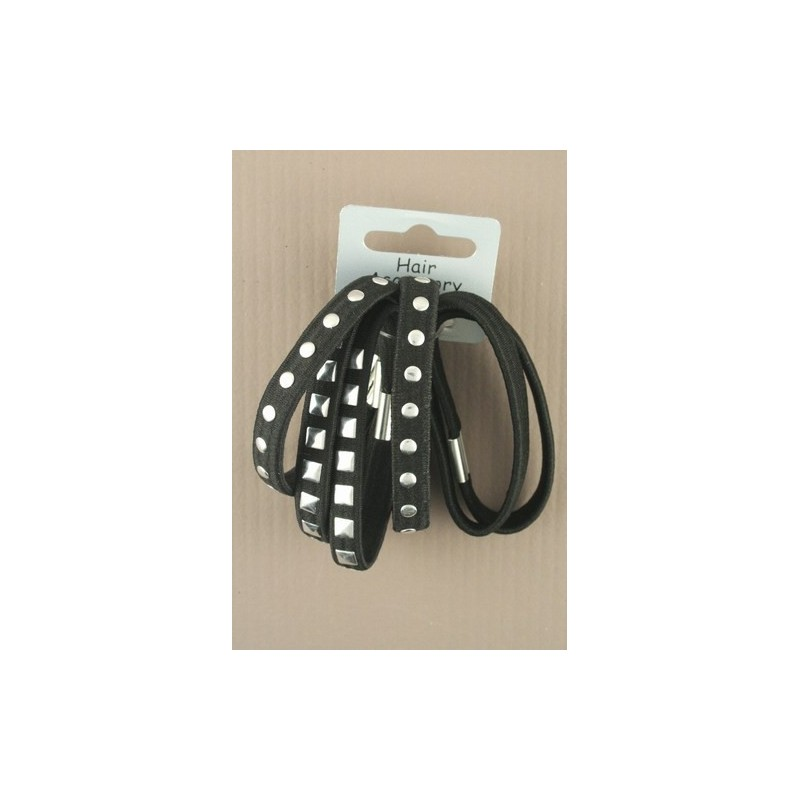Black Elastics pack of 6 with Silver Stud Detail.