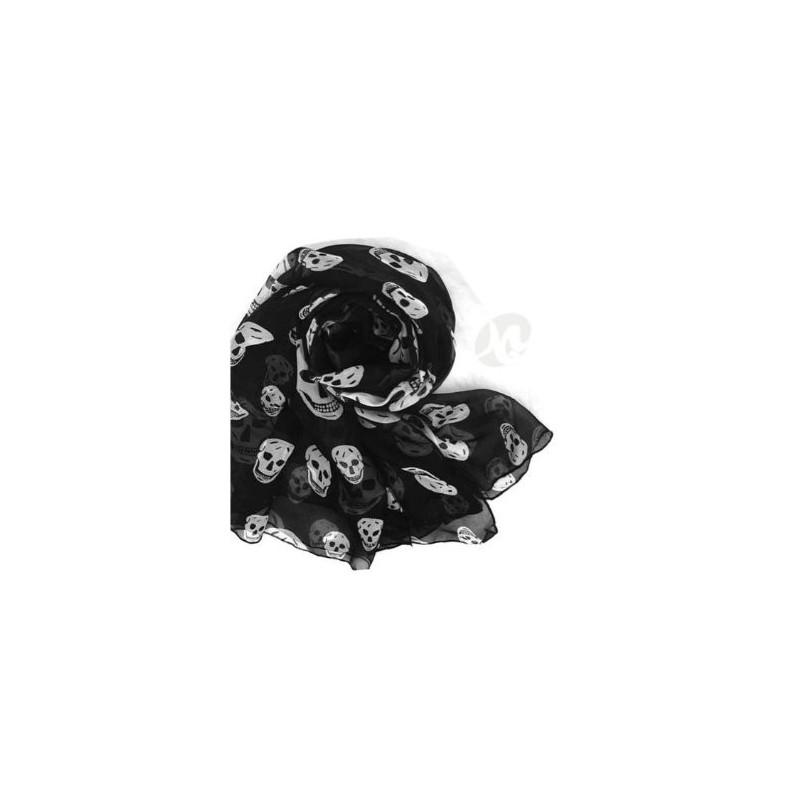 bufanda de Gasa negra con calavera gris imprimir