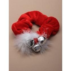Red velvet christmas scrunchie with 3 large bells.