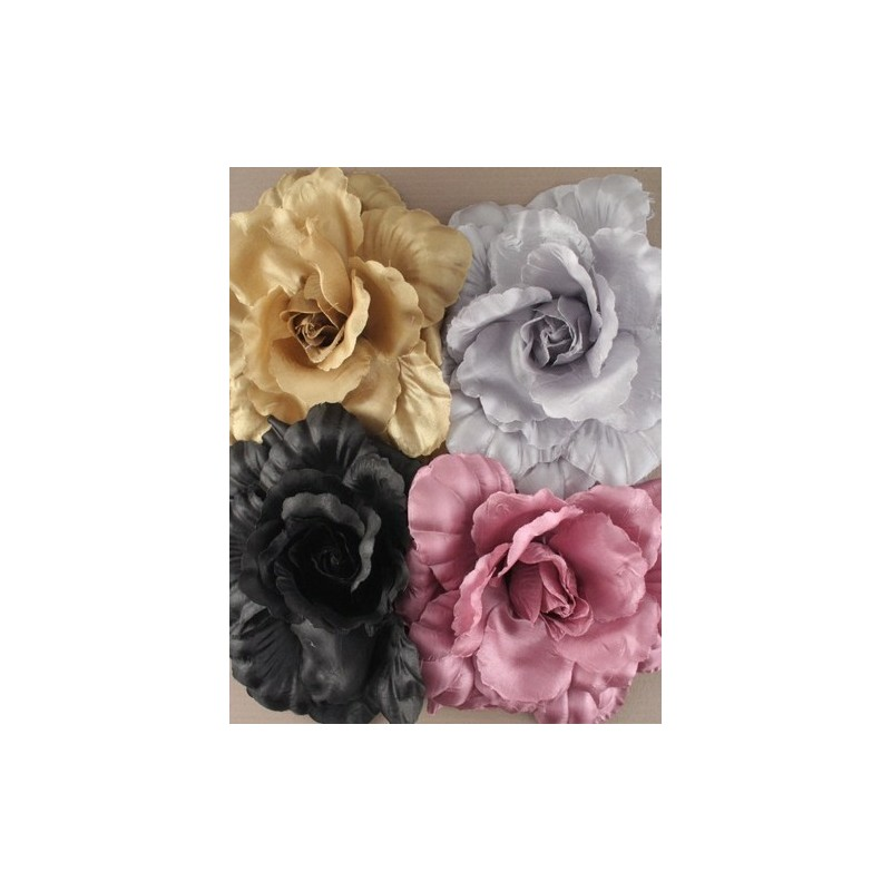 Large shiny layered fabric flower on a beak clip and brooch pin. In pink/silv/gold or black.